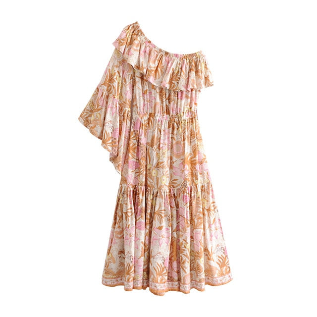 One Shoulder Ruffle Sleeve Boho Chic Dress