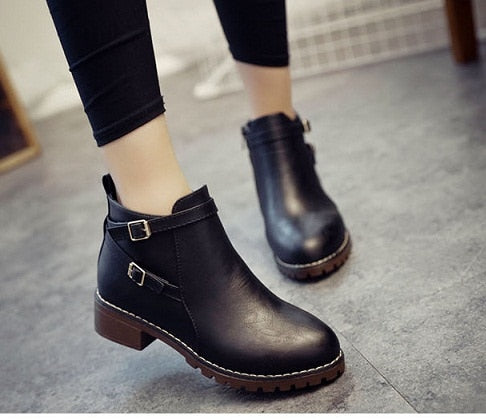 Fashion Flat Slip-on PU Leather Ankle Boots
