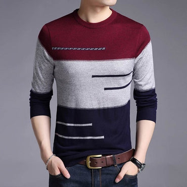 knitted jersey striped knitwear pullover men sweater