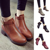 Flat Fashion Platform Round Toe Buckle Strap Solid Comfortable Ankle Boots