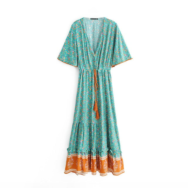 Boho Floral  Waist Tie Chic  Maxi Dress