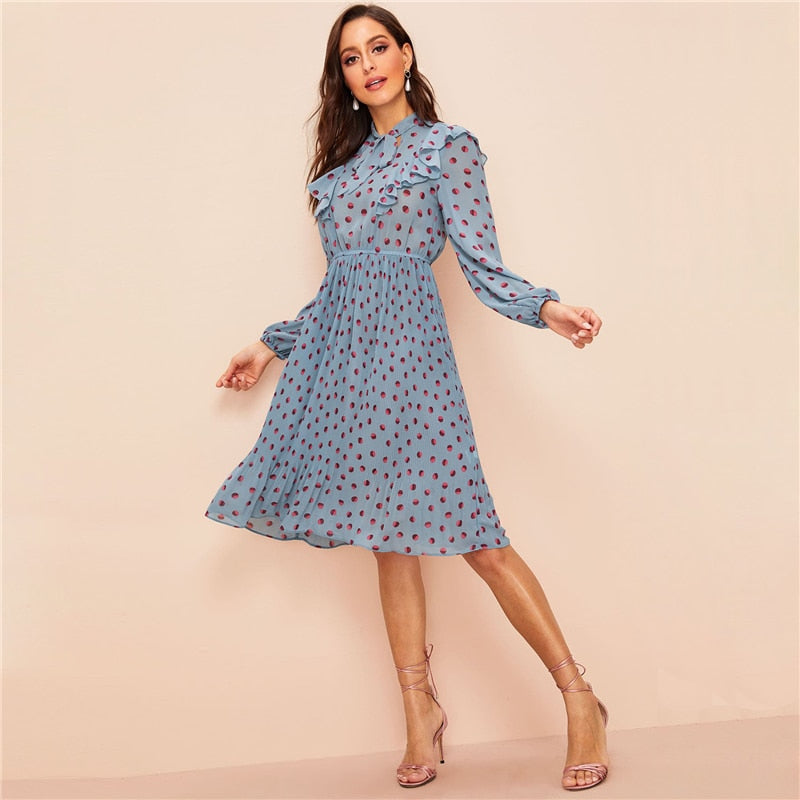 Tie Neck Ruffle Trim Polka Dot Pleated Midi Dress