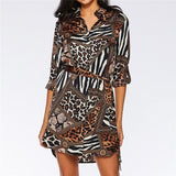 Vintage Animal Print Chiffon Dress