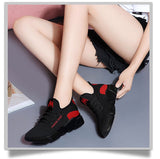 casual breathable lightweight Walking mesh lace up flat sneakers