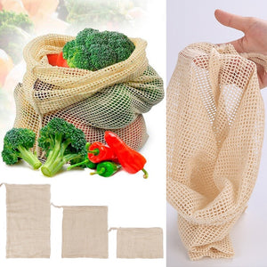 Vegetable Drawstring Reusable Kitchen Storage Mesh Bag