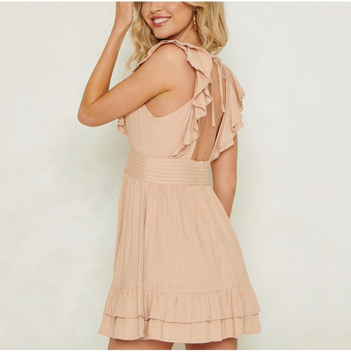 deep v-neck front button sleeveless solid ruffle backless lace up dresses