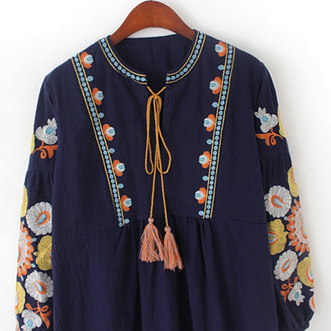 embroidery cotton tassel bohemian blouses