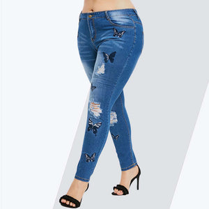 Plus Size Butterfly Distressed Embroidered Skinny High Waist Pencil Pants Denim Jean