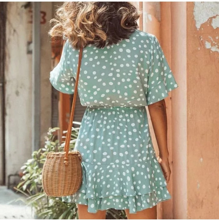 Casual Blue Polka Dot Short Sleeve Ruffles Dress