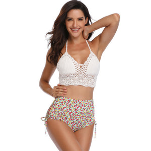 Sexy Ladies White Crochet  One Piece Swimsuit Monokini