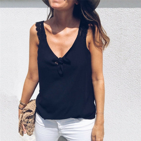 V-Neck Lace Elegant Sleeveless Summer Vest Loose Tank Top
