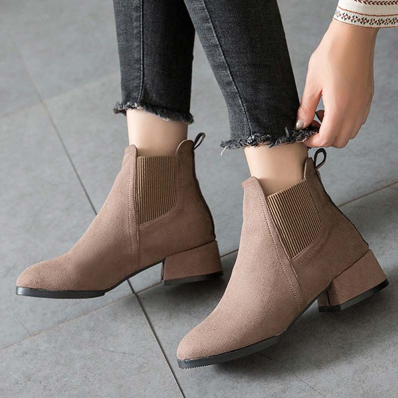 Slip-on Round Toe 3.5cm Square Heel  Flock Ankle Boots
