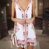 Boho V-neck Sleeveless Geometric Print With Tassel Ethnic dress