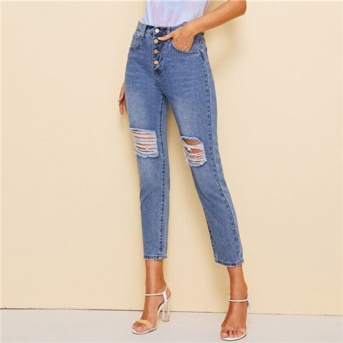 Blue Button Detail Ripped Skinny Jeans