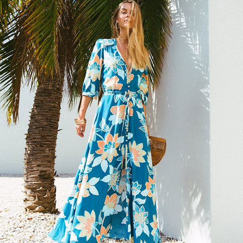 Sexy V Neck Boho Robe Maxi Dress