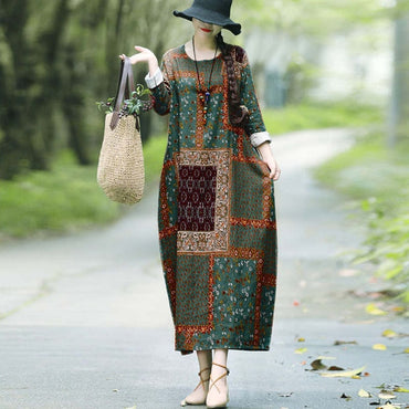 Vintage Printed Cotton Round Neck Retro Linen Dress