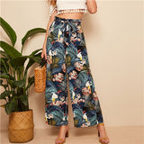 Belted Frilled Waist Tropical Print Loose Long Palazzo Pants