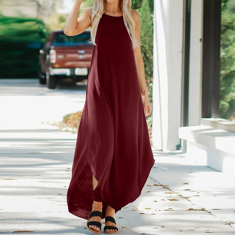 Summer Strappy Sleeveless Casual Loose Maxi Long Dress