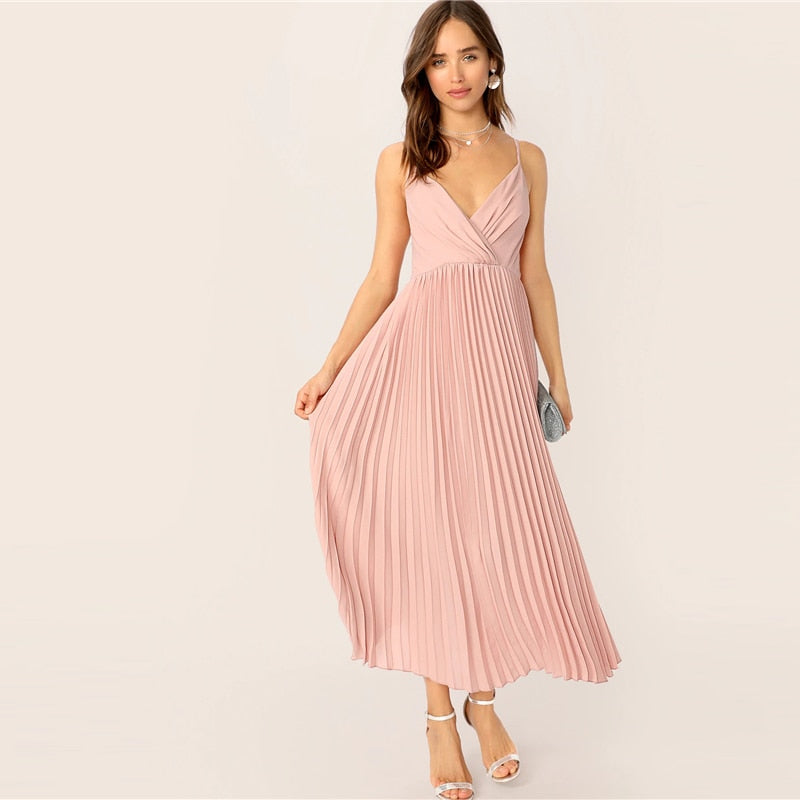 Surplice Neck Pleated Cami Dress