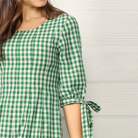 Preppy Green Knotted Cuff Gingham Fit and Flare Summer Long Dress