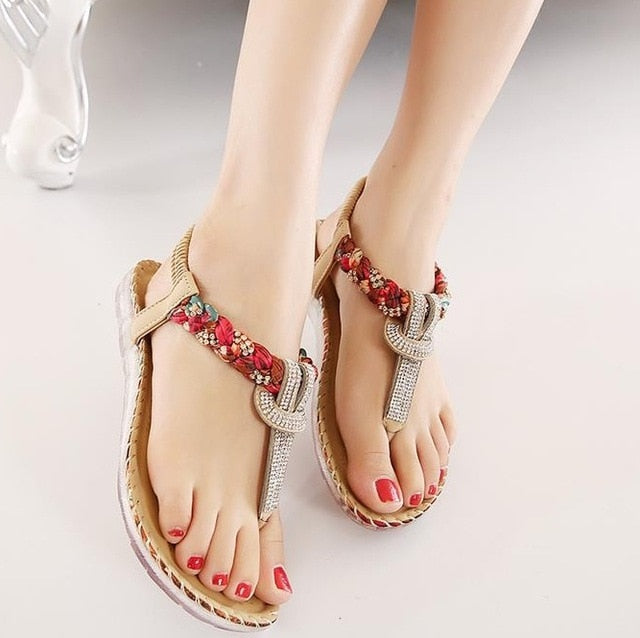 Bohemia Flat Women Sandals Sexy String Bead Beach Summer shoes
