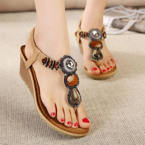 Bohemian shoes beaded sandals