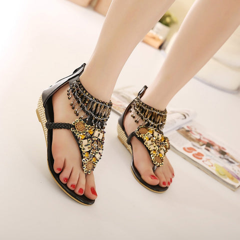 Flat Casual Flip Flop Women Back Zipper Boho Shoes