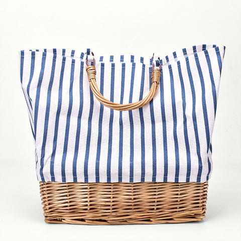 Striped canvas straw tote bag