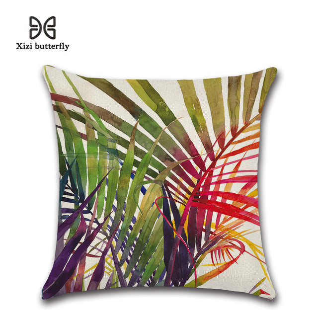 Tropical Plant Printed Green Leaves Linen Home Decorative Pillow Cover