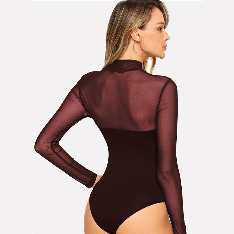 Solid Mock Neck Mesh Sheer Skinny Basic Bodysuit