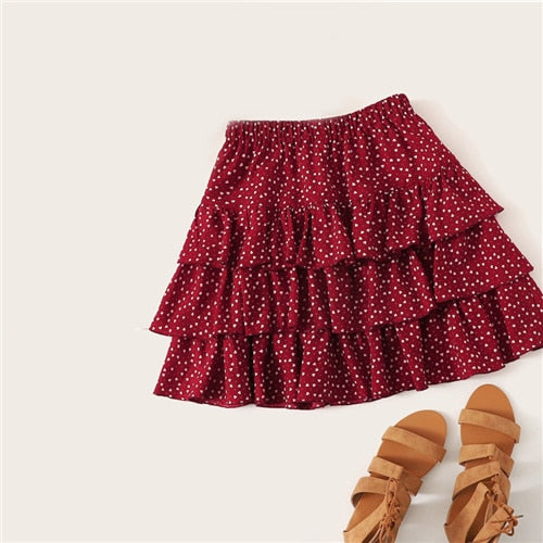 Burgundy Heart Print Layered Ruffle Above Knee Skirt