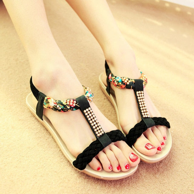 Flat bohemia  shoes gladiator sandals