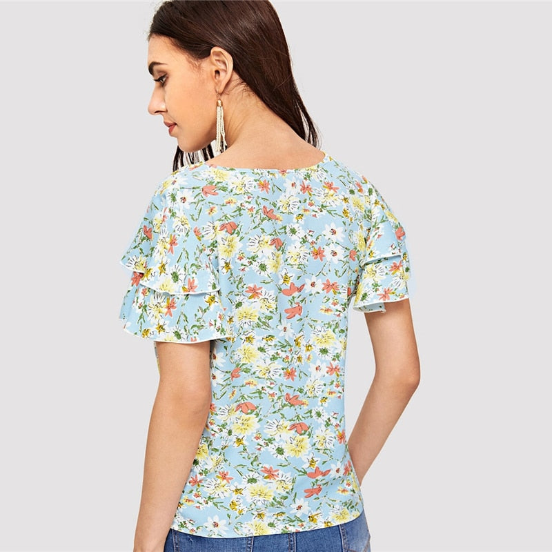 Layered Flutter Sleeve Floral Butterfly Sleeve Tops and Blouses