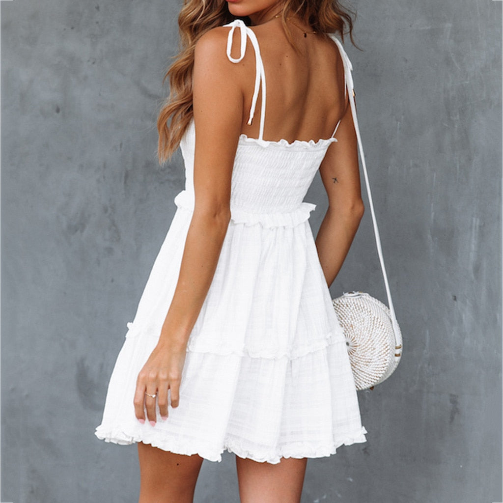 Casual Solid Above Knee Sleeveless Loose Party  Mini Dress