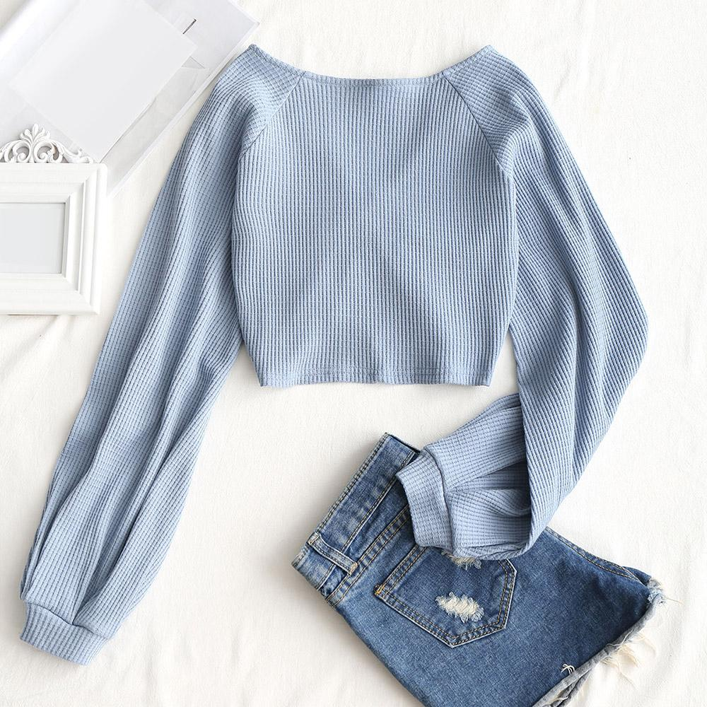 V Neck Long Raglan Sleeve Knit Crop Top
