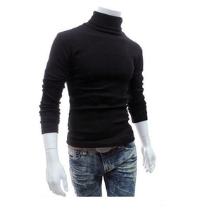 Turtleneck Solid Color Casual Sweater Slim Fit Knitted Pullovers Sweater