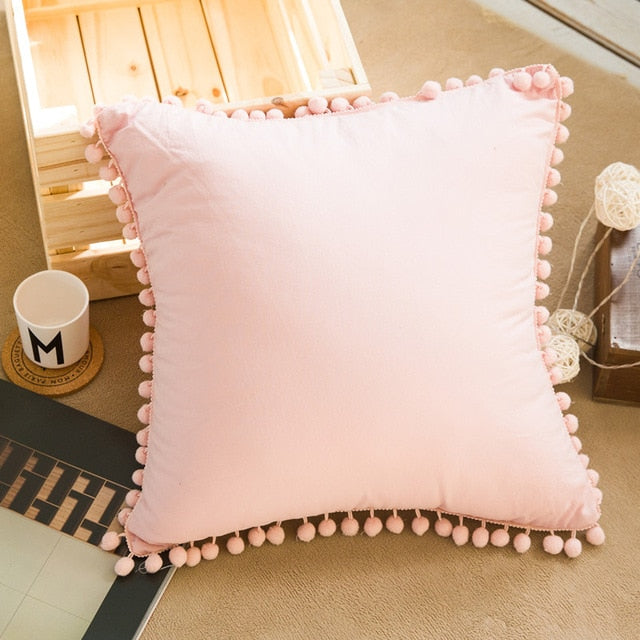 45*45cm Sofa Solid Pompom Cushion Cover