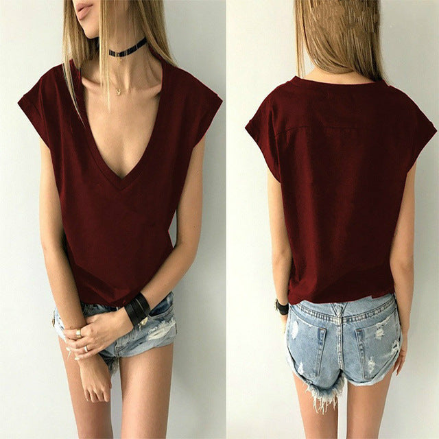 Solid Cotton Casual Deep V Neck Short Sleeve Sexy T-shirt Basic