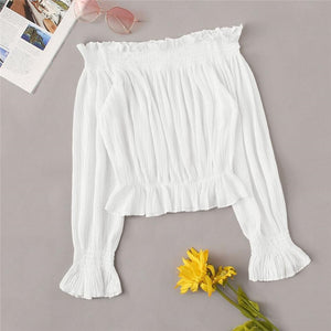 White Solid Ruffle Shirred Off The Shoulder Blouse