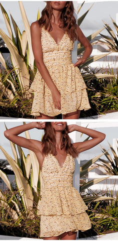Foral Print Yellow Mini Sundress