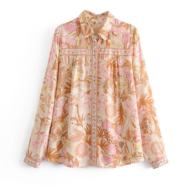 Lantern Sleeve Floral Print Boho Blouse or Short