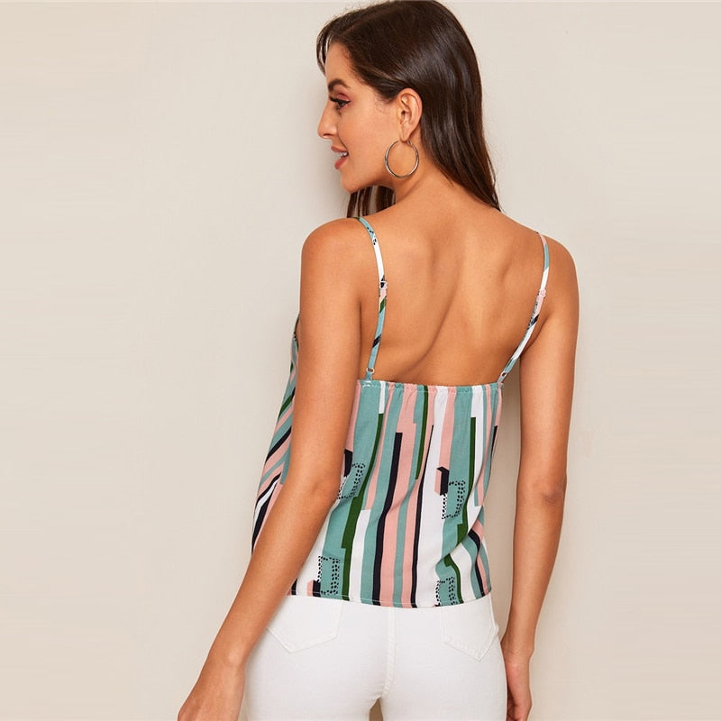 Color block Striped Sleeveless Cami Top