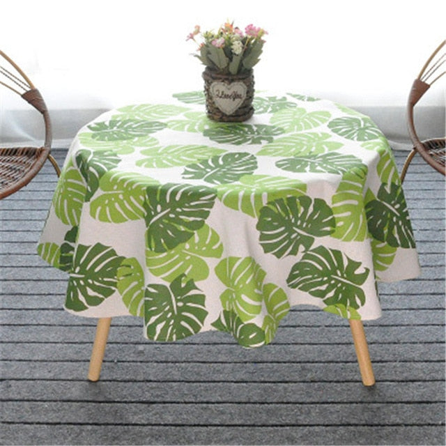 Round Cotton Linen Tablecloth