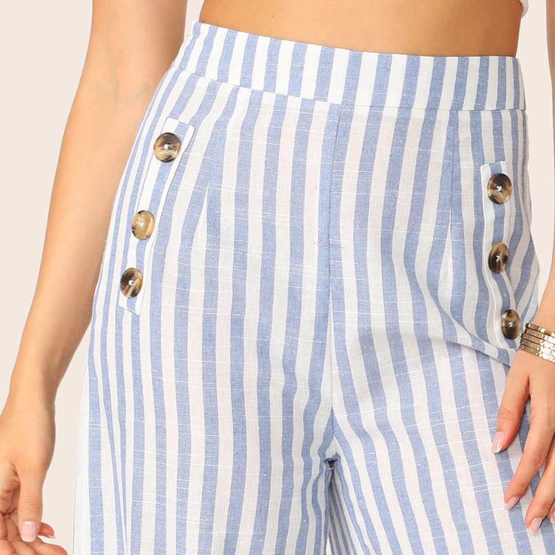 Wide Waist Button Detail Striped Palazzo Pants