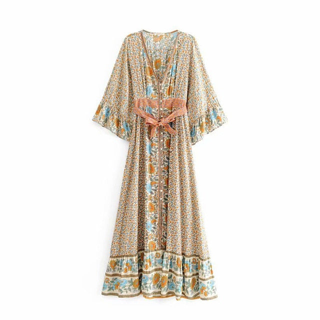 Hippie Floral Print Flare Sleeve Maxi Dress