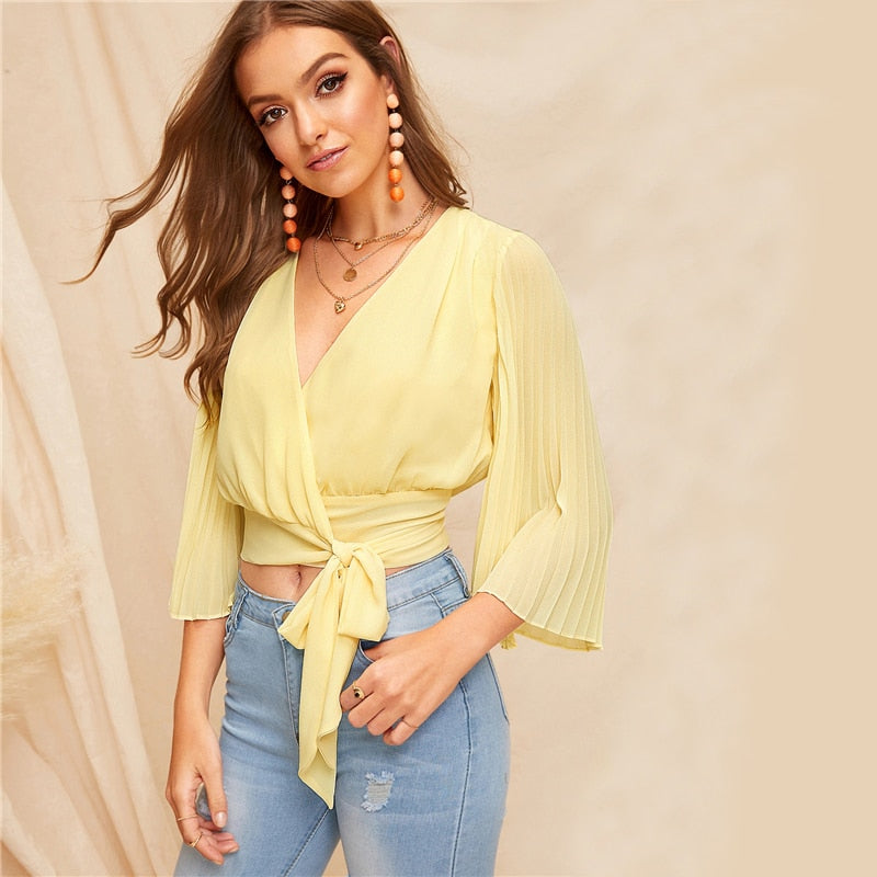 Yellow V Neck Pleated Bell Sleeve Wrap Blouse Shirt Crop Top