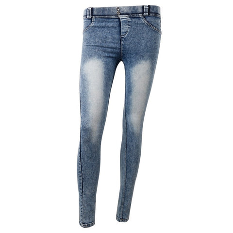 Solid Push Up Blue Sexy  Full Hip Skinny High Waist Stretch Denim Jeans