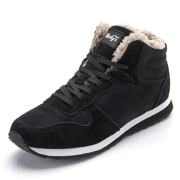 Unisex Solid Plush  Snow Sneakers