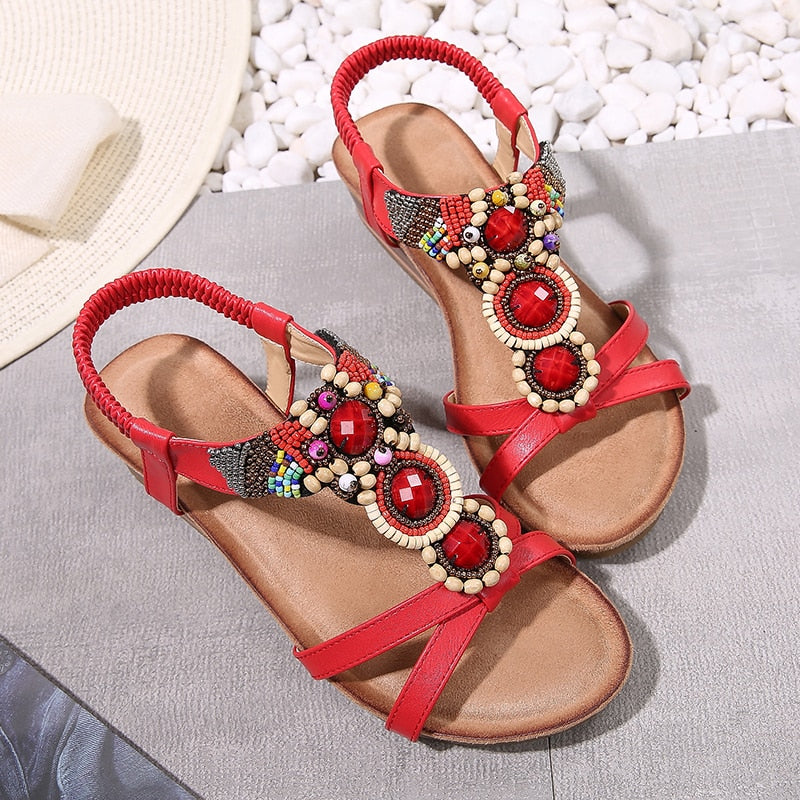 String Bead Bohemian Sandals Retro Gemstone Elastic Band Wedges Heel Sandals