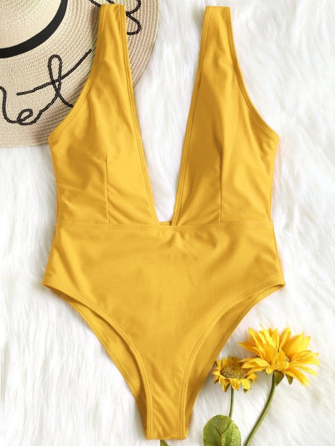 One Piece Low Cut Padded  Rompers Bodysuit